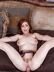 Housewife Penny Pax gives an amazing deep blowjob after titjob