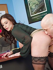 Busty boss Kendra Lust fucks with her coworker and swallows!