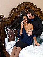 Ebony wife Anya Ivy was banged in her mouth by that white pole