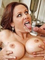 Big-tit chick Julia Ann is swallowing sperm on the camera as she love