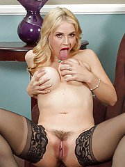 Sexy milf blonde Sarah Vandella is touching her accurate holes