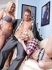 Stunning blondes Devon Lee and Whitney Grace are giving a blowjob
