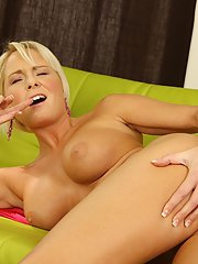 Sexy blonde milf Chloe Deluxe stretches her pussy after undressing