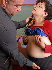 Fatty mature teacher Richelle is being forced to suck a dick