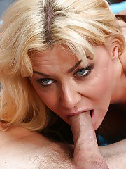 Blonde Sasha Sean gives a great deep blowjob and swallows sperm