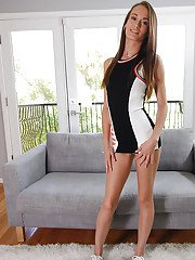 Skinny Kacy Lane takes off her tight dress and shows her anal hole