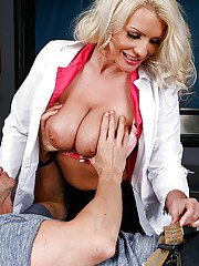 Glamorous mistress Sadie Swede sucks this dudes big hard prick