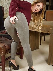 Hottest chick Capri Cavanni takes off her grey pants and bra