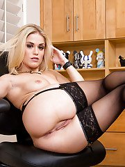 Office blonde Ash Hollywood is touching her cuter hole of pleasures