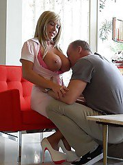 Sweet blonde Sandra Otterson gets a hot load of cum in her mouth