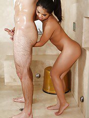 Tanned Asian masseuse Cindy Starfall is sucking dick in the shower