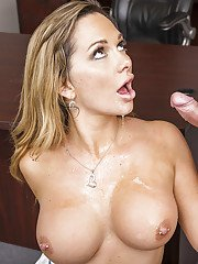 Tanned Destiny Dixon shows her blowjob skill in the school office!