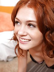 Curly-haired teen Alice Green is playing with her juicy ass!