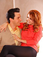 Sweet clothed Lexi Belle fucks with her vintage lover on camera