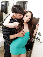 Slender long-haired Latina Lola Foxx is screwing in the bathroom
