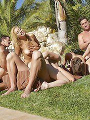 Five slender models are sucking big long dicks by the poolside
