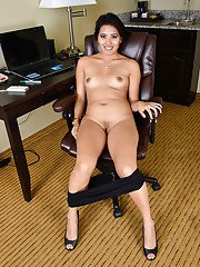 Hot as hell amateur asian secretary Angelina Chung is fingering