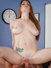 Big-tit coed Dillion Carter gets tasty warm sperm on her tongue