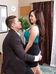Hot office secretary Karlee Grey gives head and fucks in her ass