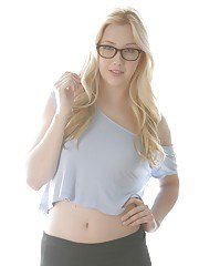 Slick long-haired teen blondie Samantha Rone poses with naked ass