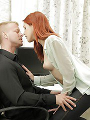 Redhead innocent beauty Amarna Miller is playing with bosss dick