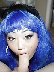Teenager with blue hair Miko Dai is swallowing this huge dick