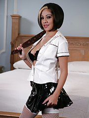 Amazing babe Vanessa Leon is playing with her lovely whip!