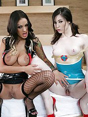 Brunettes Stoya and Angelina Valentine poses in their latex!