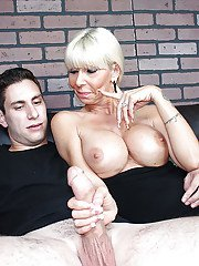 Busty bleached milf is wanking this wiener and swallowing sperm