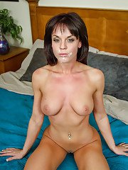 Hot brunette with big tits Rahyndee James clothed with piercing in reality show