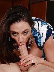 Majestic cougar Ariella Ferrera licks balls and gets cum on her jugs
