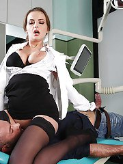 Sweet babe in nurse uniform Candy Alexa sits on guys hungry mouth