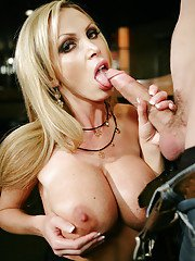 Blonde milf named Nikki Benz pleases monstrous dick with her mouth