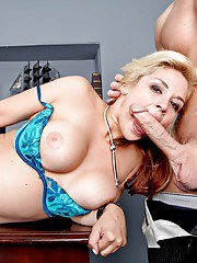 Milf with cute enhanced tits Sarah Vandella is busy with blowjob