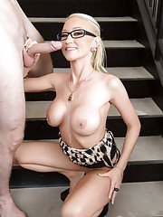Fabulous blonde in glasses Madison Scott uses her skills on big cock