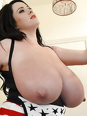 Chubby brunette with monstrously big tits Rachel Aldana shows off