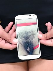 Lovely hairy Latina makes gorgeous photos of her pussy on smartphone