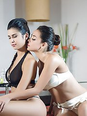 Latin Lesbians Celeste Sablich and Marga Cifuentes are fond of humping