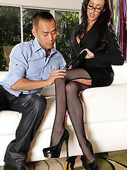 Classic milf with dark hair Breanne Benson is the queen of footjob