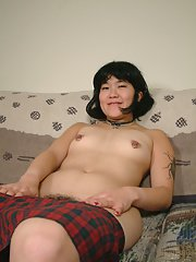 Amateur Asian female Cady shows her ugly hairy pussy and poses