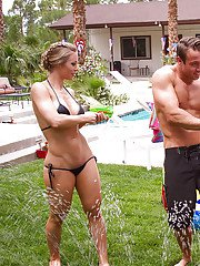 Milf Kendra Lust sits on guys face and Nicole Aniston on his dick