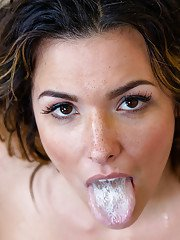 Milf with giant breasts Kendra Lust is fed with delicious jizz