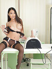 Slutty Asian babe in stockings PussyKat is banged by fuck machine