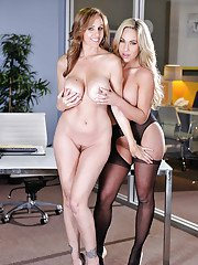 Hipnotizing lesbians getting raunchy in the office exposing their jugs