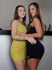 Gorgeous babes Tiffany Doll and Amirah Adara strip and kiss each other