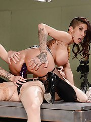 Jessa Rhodes and Kayla Carrera break out the strapon during an orgy
