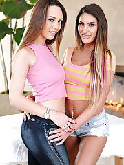 Humping lesbians August Ames and Jade Nile looking fine in denim jeans