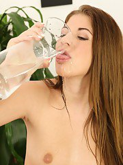 Kinky babe Elis Gilbert pisses in a glass and drinks every drop of it