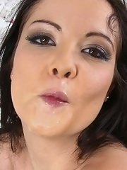 European cutie Diore whips out a dick and sucks the cum from it