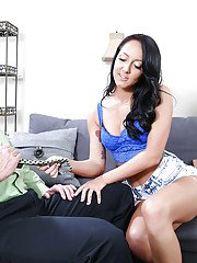 Brunette Coed Latina Sabrina Banks blows older man and swallows cum